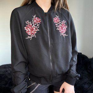 Roz & Ali Black Bomber Jacket w Floral Embroidery